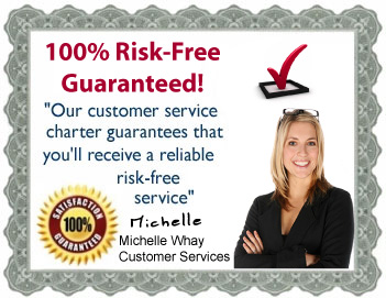Our customer service charter guarantees that you'll recieve a reliable risk-free service.